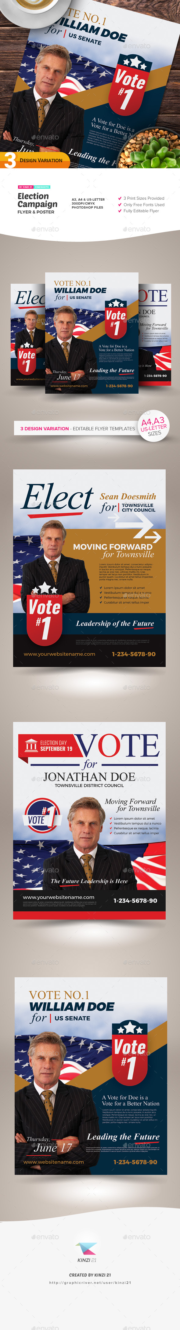 Flyers PSD – Election Campaign Flyer and Poster Templates – Download