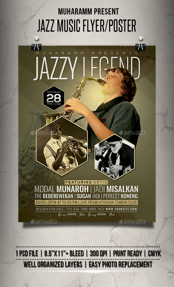 Flyers PSD – Jazz Music Flyer / Poster – Download