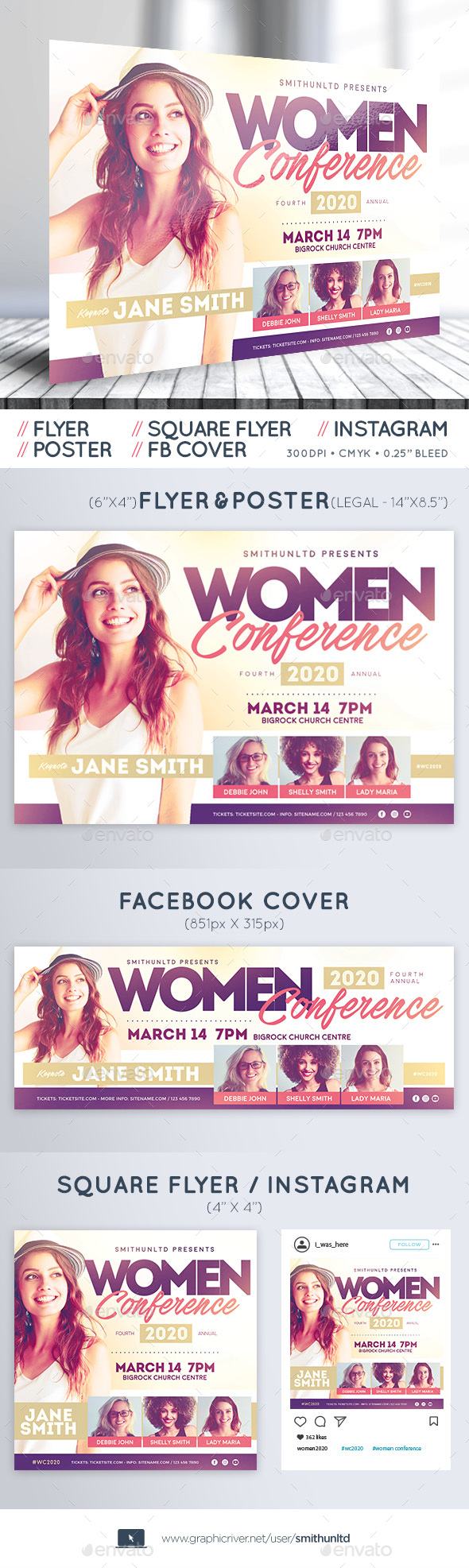 Flyers PSD – Females's Convention – Full Space – Download