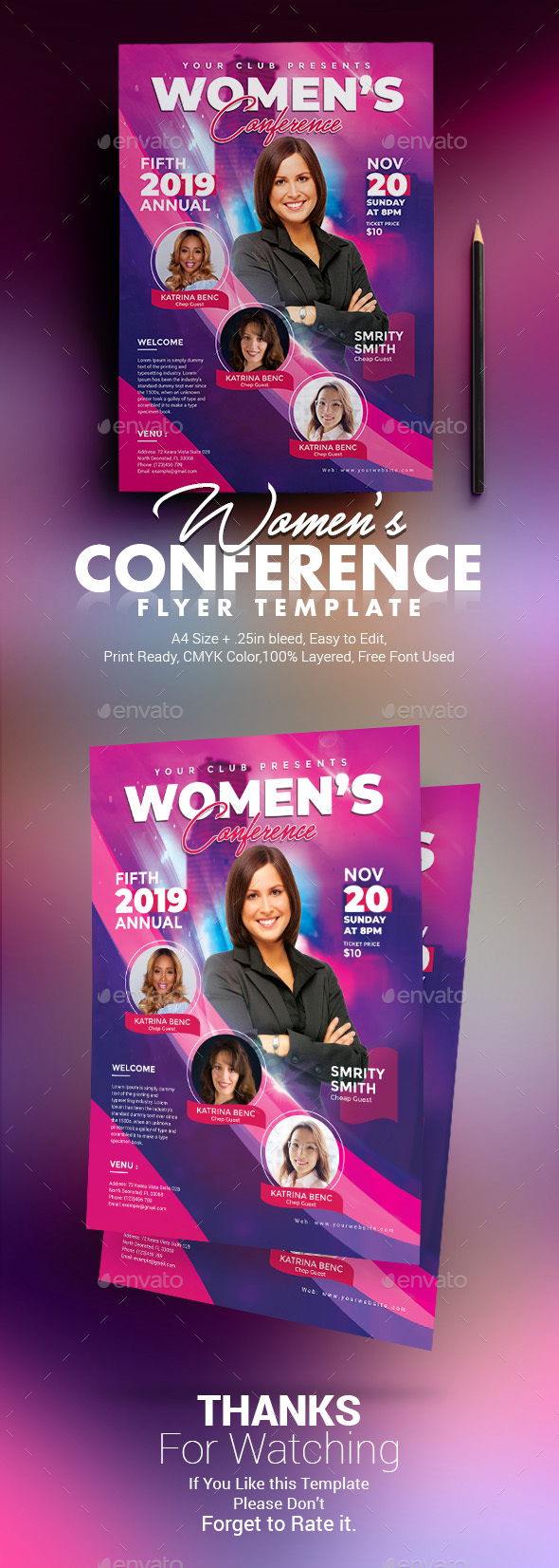 Flyers PSD – Women Conference Flyer – Download