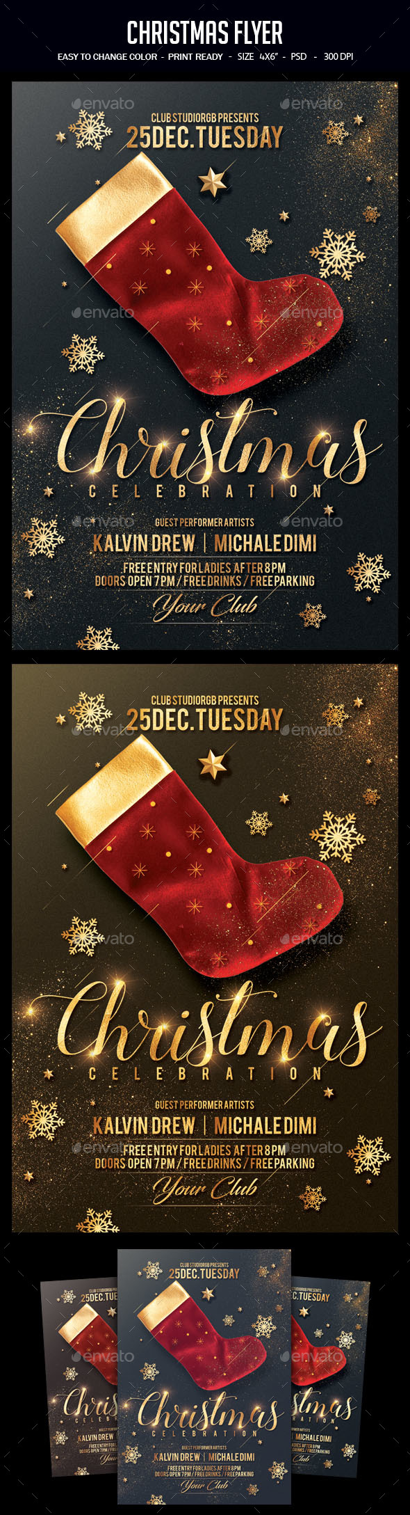 Flyers PSD – Christmas-themed Flyer – Download