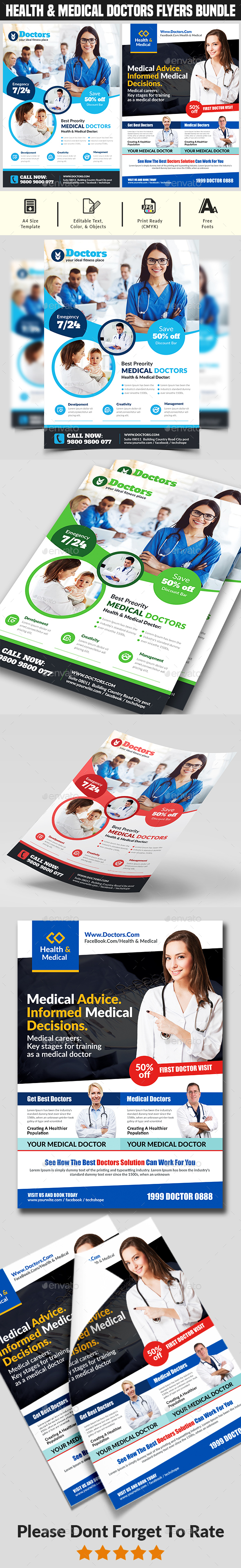 Flyers PSD – Healthful & Medcine Doctor Fleiger Bundle – Download