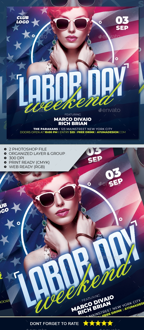Flyers PSD – Laboured Day WeekEnd Flyer – Download
