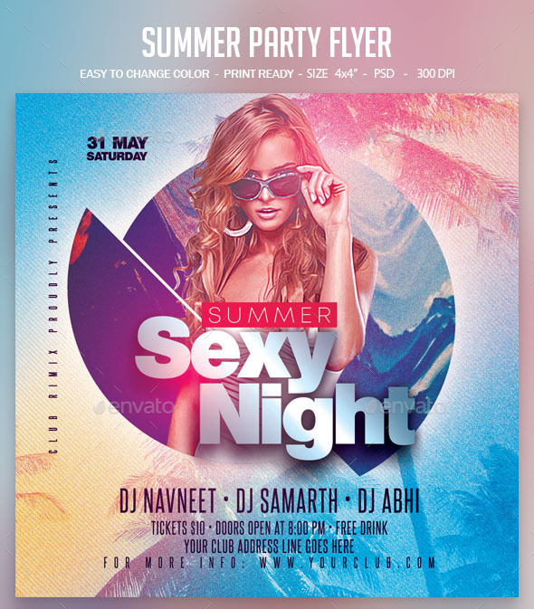 Flyers PSD – Summer time Celebration Flyer – Download
