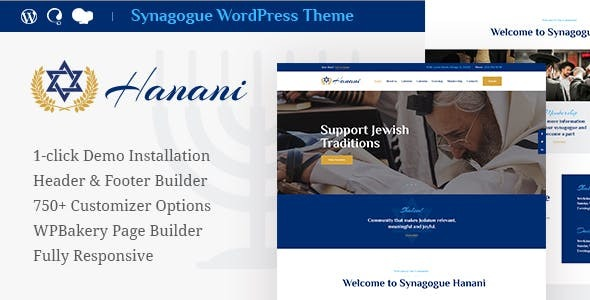 Hanani | Jewish Neighborhood & Synagogue WordPress Theme + RTL – WP Theme Download