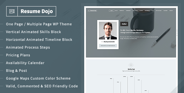 ResumeDojo – Resume and Portfolio WordPress Theme – WP Theme Download