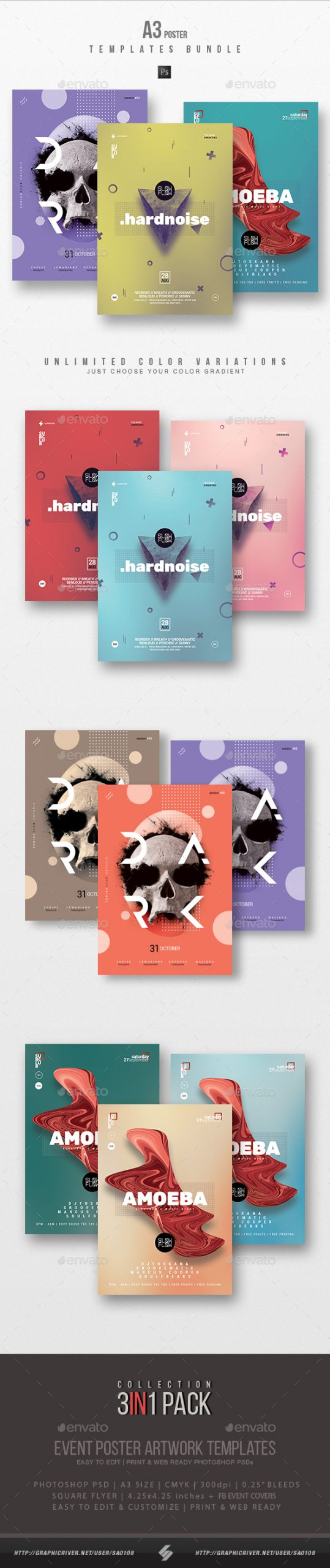 Flyers PSD – Minimal Sound vol.12 – Occasion Flyer / Poster Templates Bundle – Download