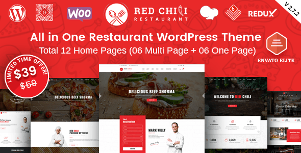 RedChili – Restaurant WordPress Theme  – WP Theme Download