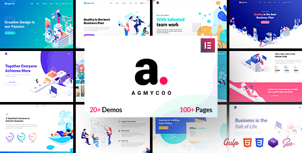 Agmycoo – Isometric Startup Creative Digital Company WordPress Theme – WP Theme Download