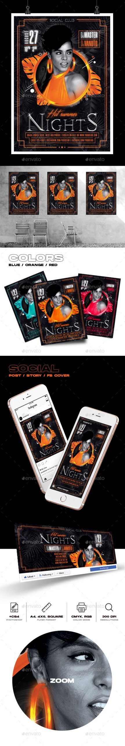 Flyers PSD – Sizzling Summer season Nights Celebration Flyer – Download
