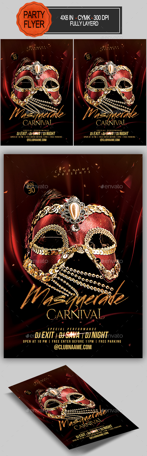 Flyers PSD – Masquerade Carnival Flyer – Download