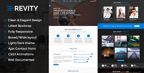 One web page WordPress Theme – Revity – WP Theme Download