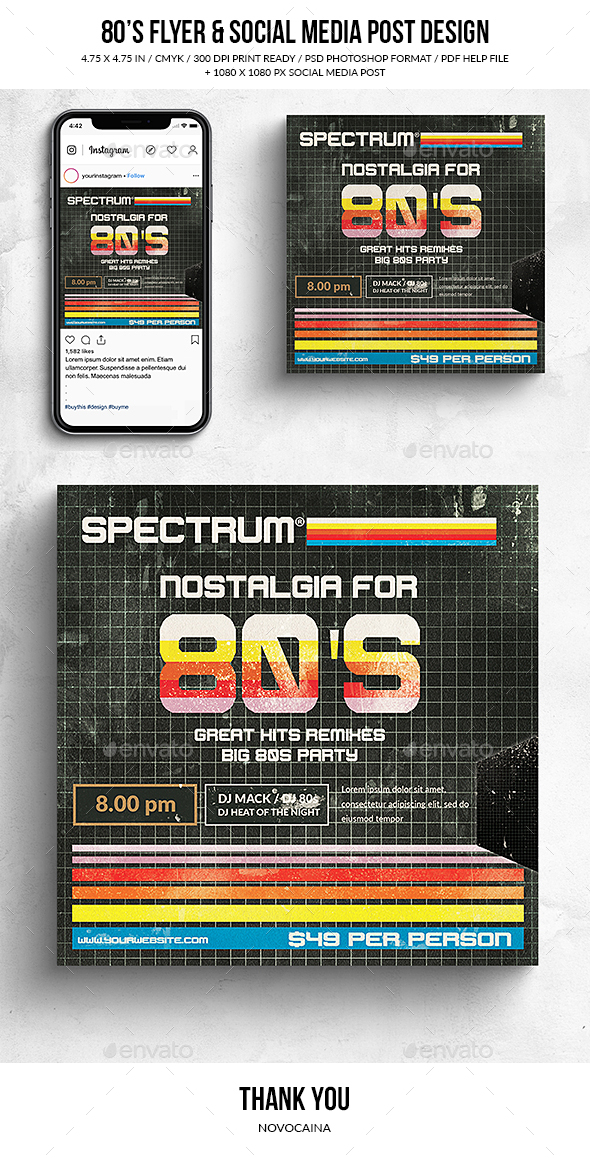 Flyers PSD – Nostalgia 80's Sq. Flyer & Social Media Put up – Download