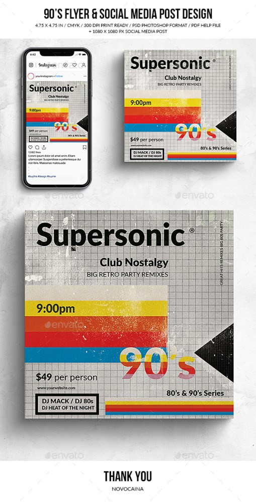 Flyers PSD – 90's Supersonic Sq. Flyer & Social Media Put up – Download
