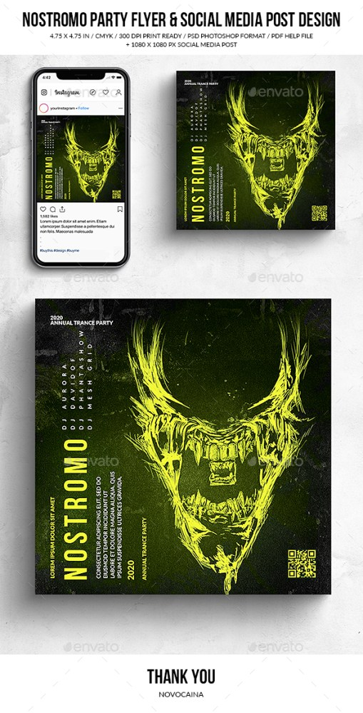 Flyers PSD – Nostromo Get collectively Occasion Sq. Flyer & Social Media Put up – Download