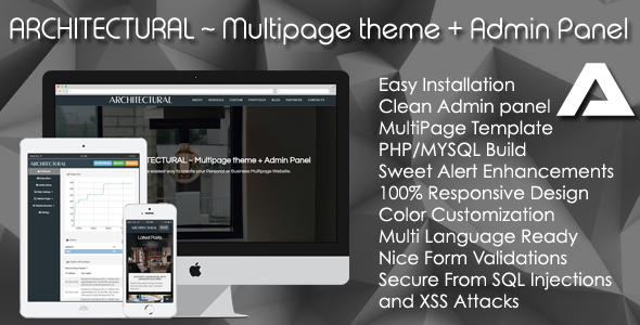 ARCHITECTURAL ~ Multipage theme + Admin Panel – PHP Script Download