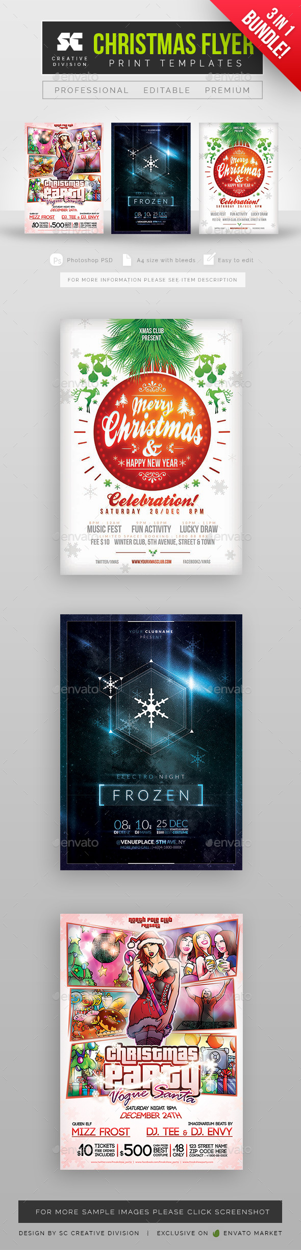 Flyers PSD – Christmas Flyer Bundle – Download