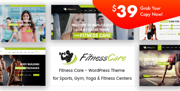 Fitness Care – Gymnasium WordPress Theme – WP Theme Download