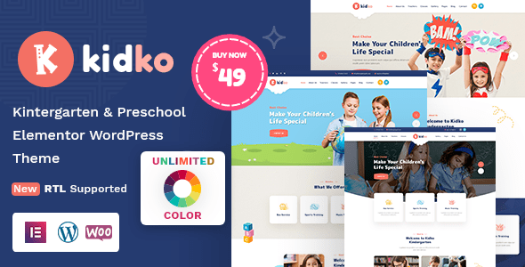 Kidko – Kindergarten & Toddler Care WordPress Theme + RTL – WP Theme Download