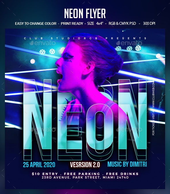 Flyers PSD – Neon Flyer – Download
