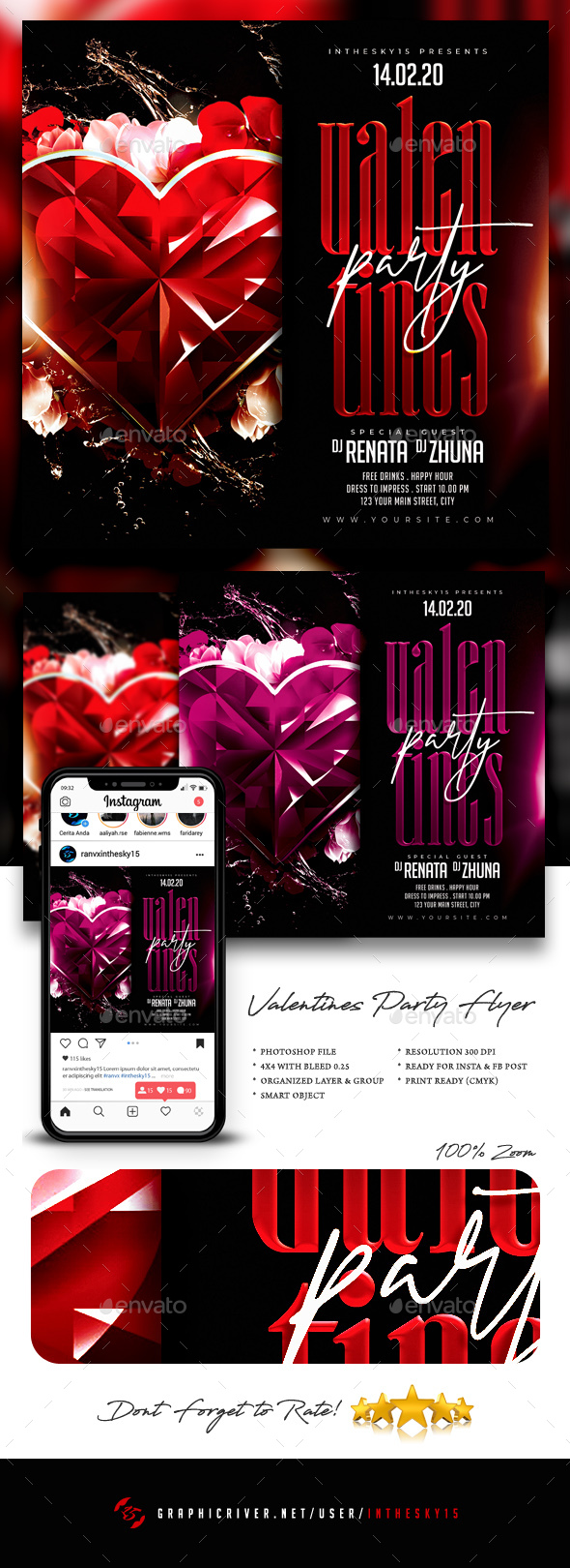 Flyers PSD – Valentines Birthday party Flyer – Download