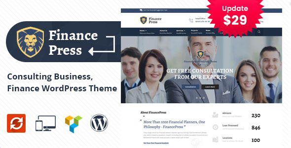 Finance Press – Consulting Alternate WordPress Theme  – WP Theme Download
