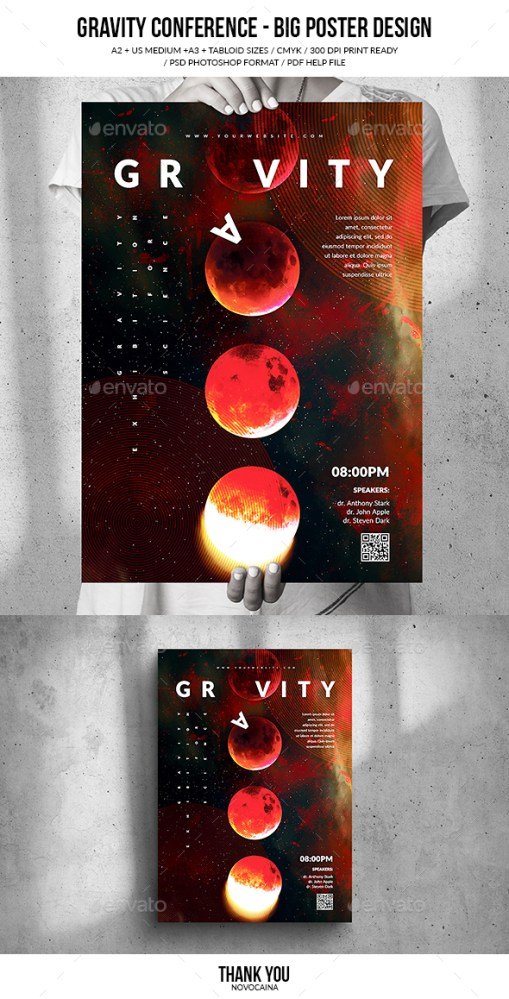 Flyers PSD – Gravity Convention Enormous Poster Form (4 Sizes)  – Download