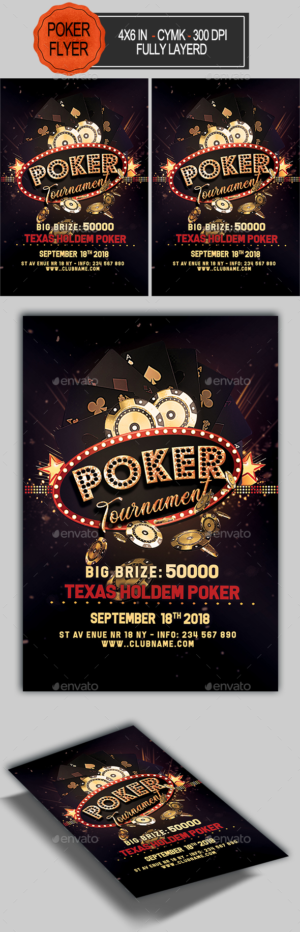 Flyers PSD – Poker Match Flyer Template  – Download