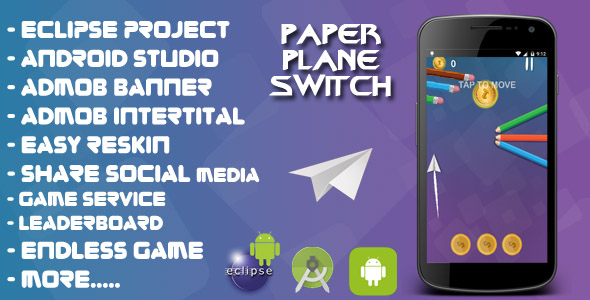 Paper Plane Swap – Android studio & Eclipse + Admob Adverts + Never-ending + LeaderBoard + Share +Overview  – PHP Script Download