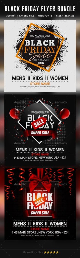 Flyers PSD – Shaded Friday Flyer – Bundle  – Download