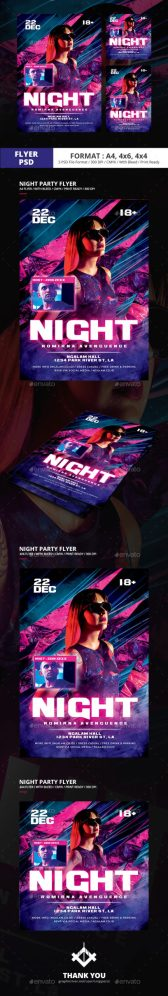 Flyers PSD – Night time Occasion Flyer Templates  – Download