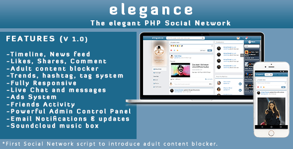 Elegance | The Tidy PHP Social Community Diagram  – PHP Script Download