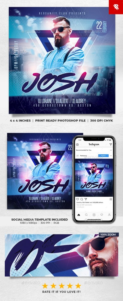 Flyers PSD – Electro DJ Flyer  – Download