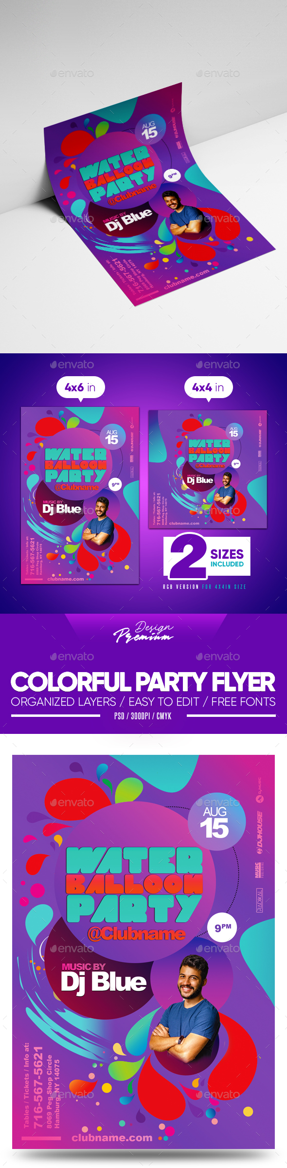 Flyers PSD – Colourful Party Flyer  – Download
