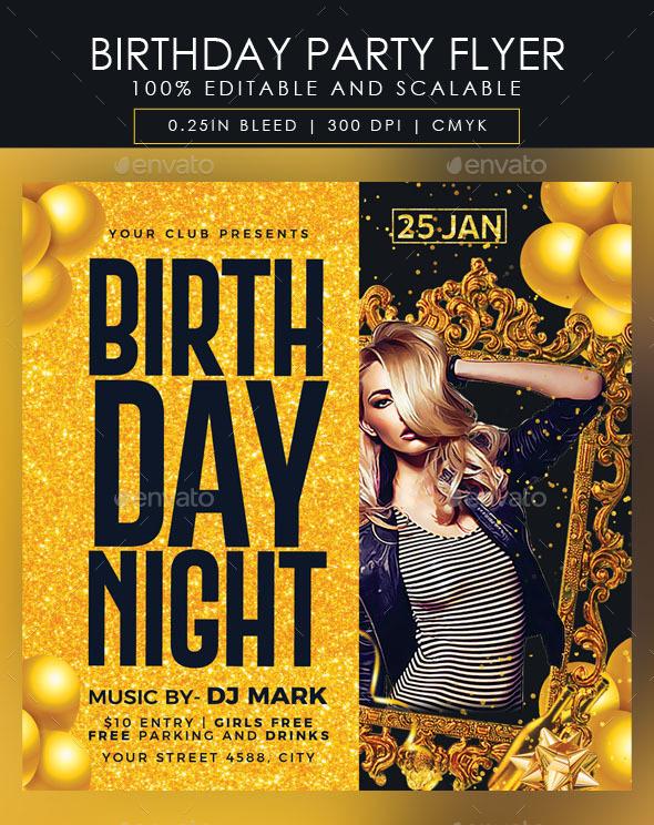Flyers PSD – Birthday Social gathering Flyer  – Download