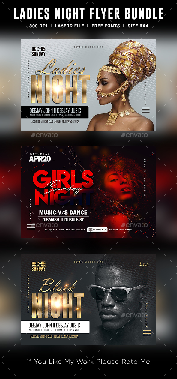 Flyers PSD – Ladies Night time Club Flyer Bundle – Download