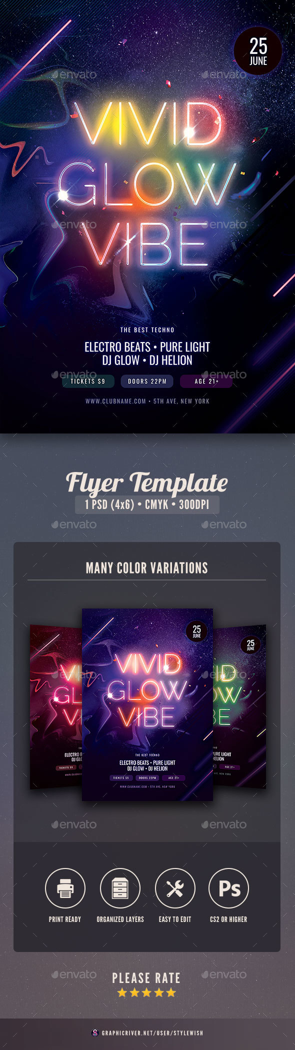 Flyers PSD – Shimmering Glow Vibe Flyer – Download