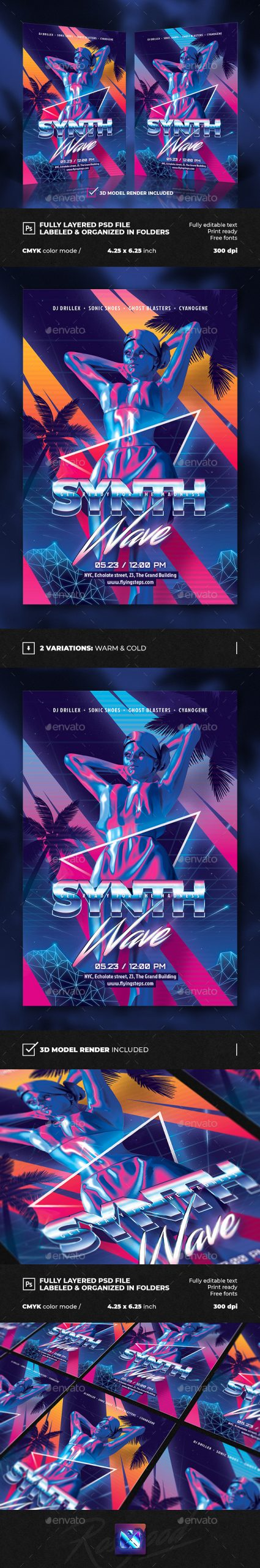 Flyers PSD – Synth Retro Wave Accumulate together Flyer  – Download