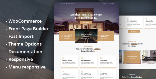 Glauss – Architecture & Creative Construct WordPress Theme  – WP Theme Download
