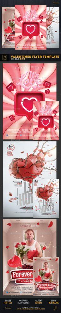 Flyers PSD – Valentines Flyer Tempate – Bundle 3 In 1  – Download