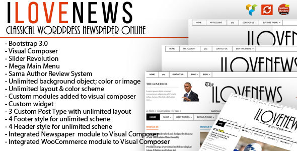 IloveNews – Traditional and neat Newspaper Theme – WP Theme Download