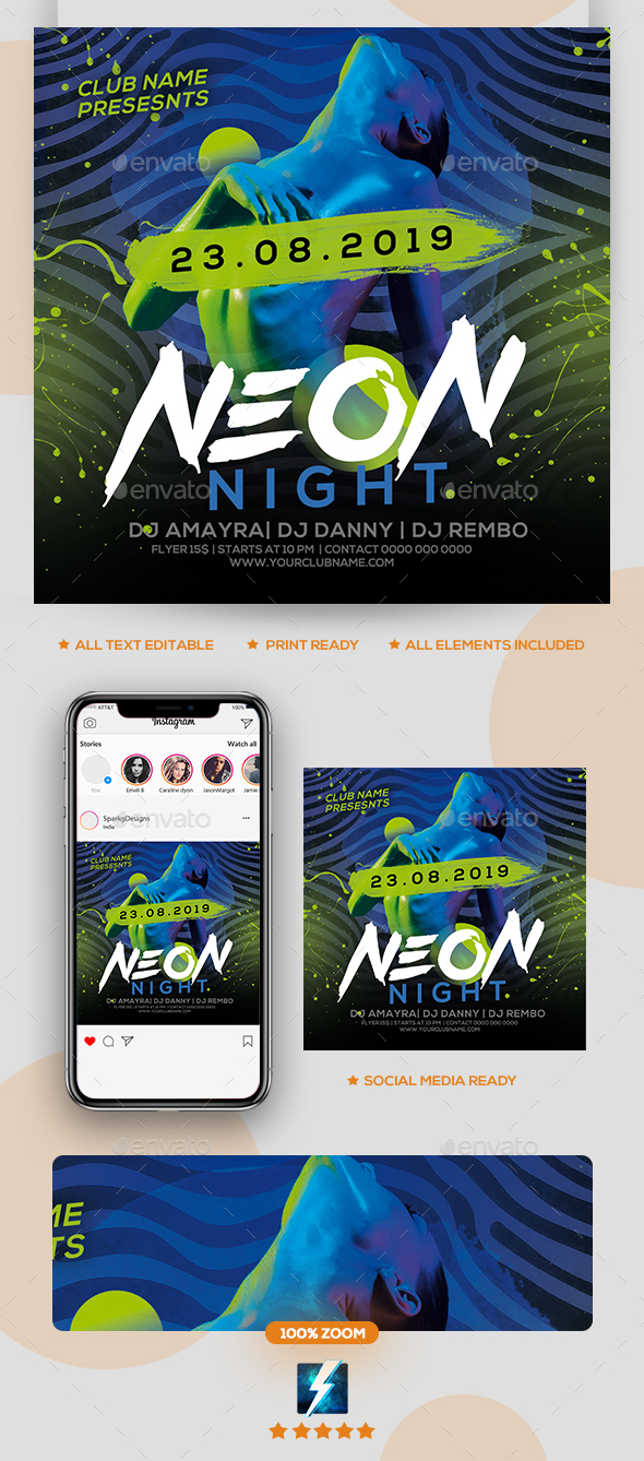 Flyers PSD – Neon Event Flyer – Download