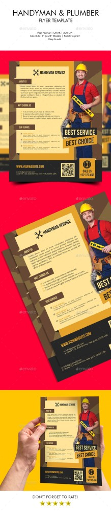 handyman plumber flyer template download