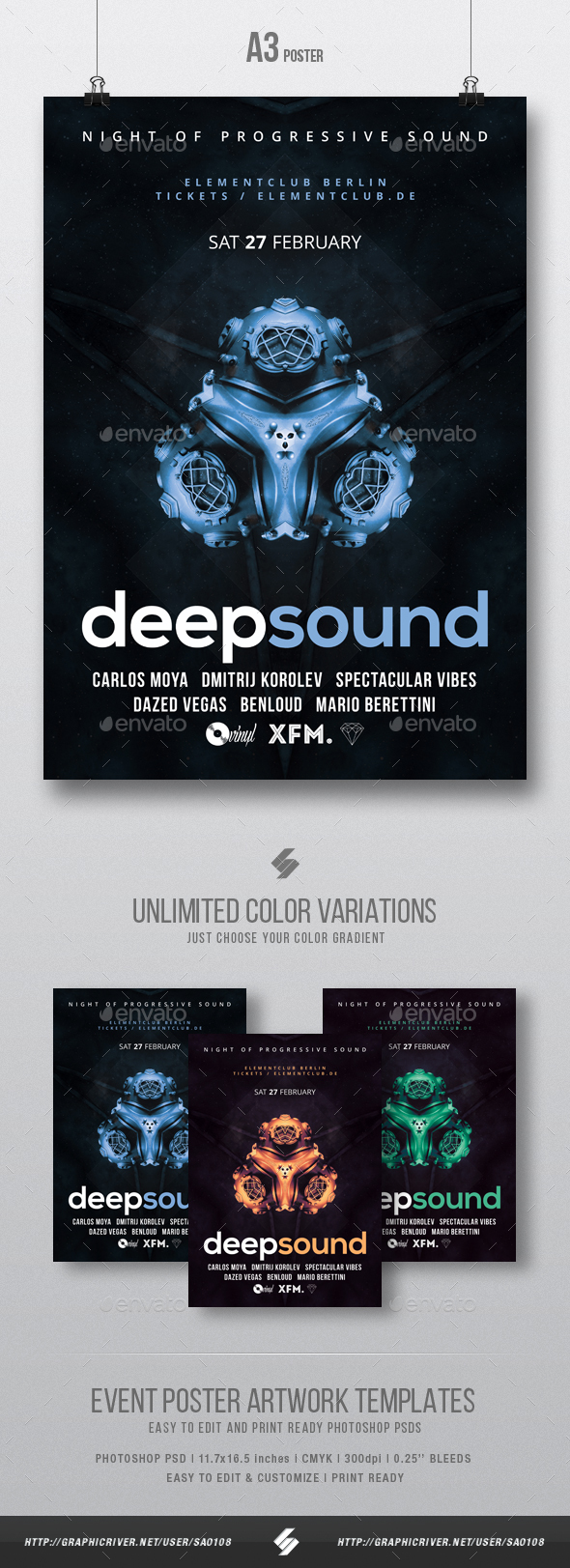 deep sound innovative occasion flyer poster template a3 download