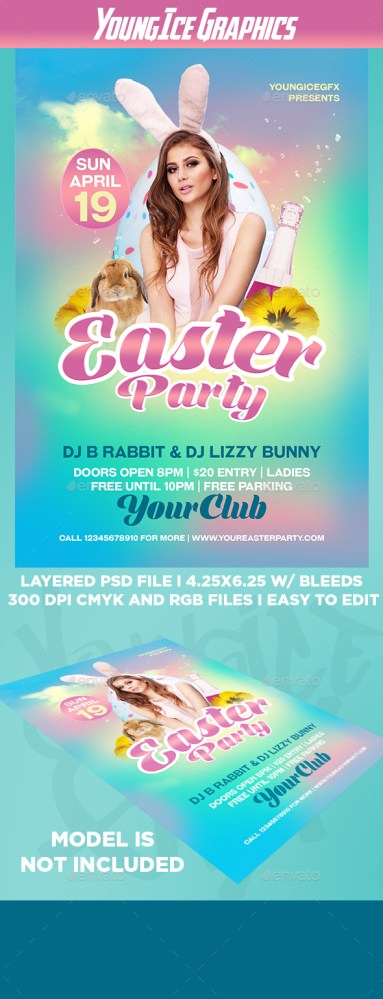 easter birthday party flyer template download