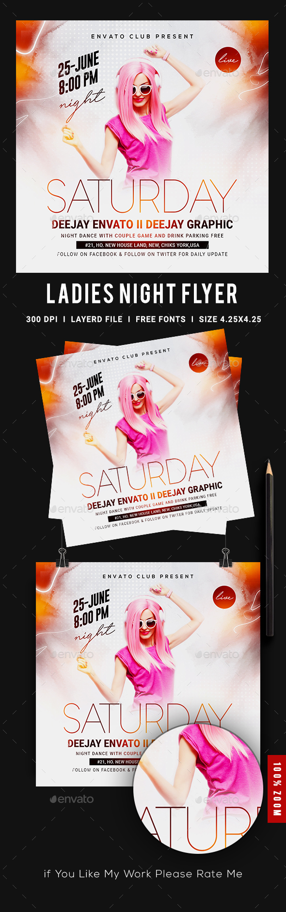 Flyers PSD – Girls Evening Club Party Flyer – Download