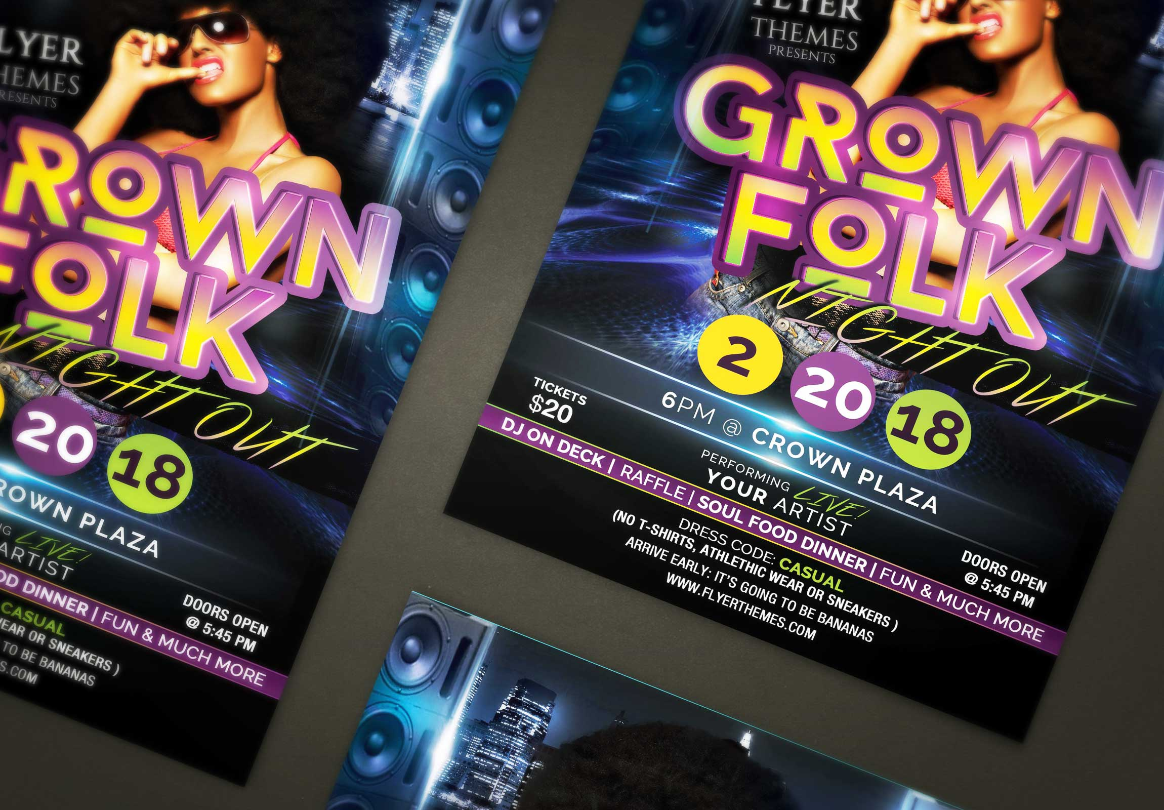 Grown Folk Night Out Flyer Template