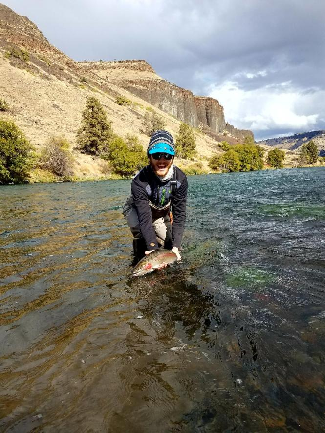 Ben with steelhead on deschutes