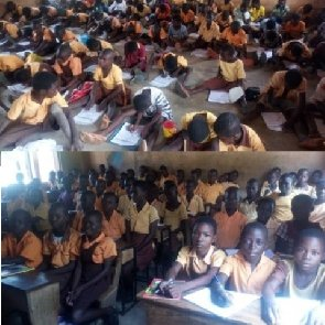 Balungu-Nabiisi School pupils learn on bare floor