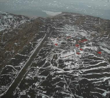 Start-och landningsbanan på Antarktis.